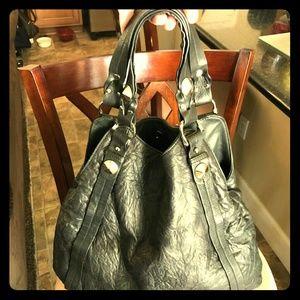 Be & D Soft Black Leather Hobo Chic Handbag